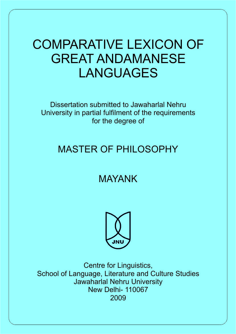 Comparative Lexicon of Great Andamanese Languages